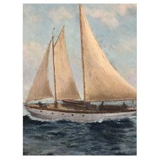 Original Oil Painting by Listed Artist E.C. Clark Depicting Nautical Scene of Sailboat Bound for Bermuda
