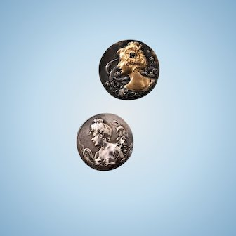Stunning Pair of Art Nouveau Button Buttons with Gorgeous Profiles of Women
