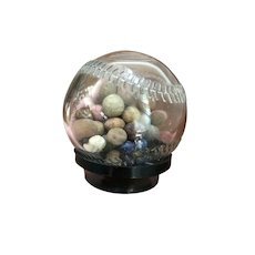 Vintage Glass Baseball Bank Filled with Clay Marbles