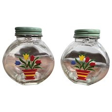 Pair of Mid Century Modern 1950's Painted Glass Kitchen Cannister-Type Lidded Jar Jars