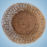 Large Decorative Vintage Round Scalloped Woven Wall Basket