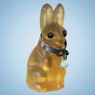 Antique Amber Glass Czechoslovakia  Glass Bunny Rabbit Charm