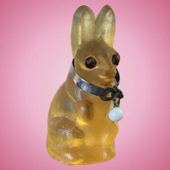 Antique Amber Glass Czechoslovakia  Glass Bunny Rabbit Charm