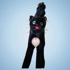 Largest Size 1950's Black Steiff Cat All ID's...Excellent condition