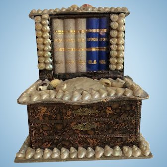 "Antique Victorian Shell Art ""Bookcase"" Dresser  Box in Excellent Condition"
