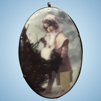 Vintage China Christmas Pin/Pendant  of Little Girl by Tree...Darling!