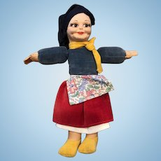 Charming Vintage Norah Wellings Romanian Cloth Doll in Mint Condition