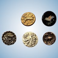 Collection of 15 Fabulous Antique Victorian Bird Themed Button Buttons