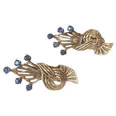 Estate 14k Rose Gold Sapphire Retro Earrings--FAB!