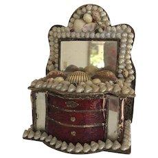 Antique Victorian Sailors Valentine Shell Art Dresser Box