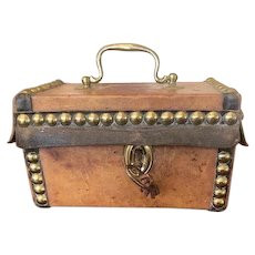 Early 18th Leather Covered Studded Wood Box w/Original Key