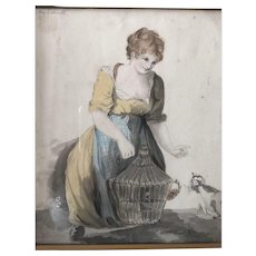 c.1800's Antique Signed English Watercolor of Lady with Cat, Bird Cage and Blue Bird... all Original