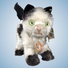 "1950's Vintage Steiff Mohair ""Gussy"" Cat w/all ID's...Excellent Condition"