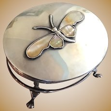 Victorian English Sterling Silver Butterfly  Trinket Box