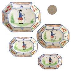 Vintage Miniature Quimper Nesting Dishes