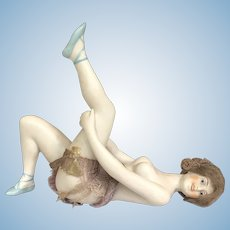 Antique German Bisque Dressed Galluba and Hoffman Bathing Beauty in Extended Leg Pose