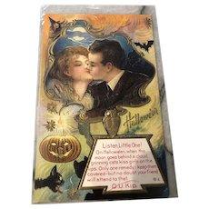 c.1910 Vintage Halloween Postcard Depicting Romantic Couple