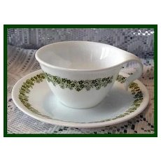 Corelle Spring Blossom Crazy Daisy Green Hook Handle Cup and Saucer