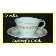 Corelle Butterfly Gold Open Handle Cup & Saucer ~ Set of 2