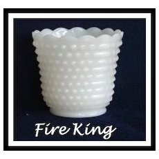 Anchor Hocking Fire King Hobnail Cache Pot Planter