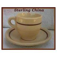 Sterling China Desert Tan Demitasse Cup & Saucer