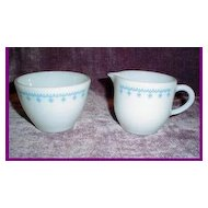 Pyrex Blue Garland Snowflake Sugar and Creamer Set