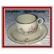 Homer Laughlin Apple Blossom After Dinner Espresso Demitasse Cup & Saucer