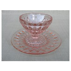 Indiana Glass Cubist Pink Sherbet Glass and Saucer