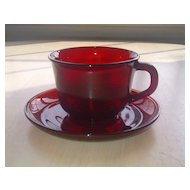 Anchor Hocking Royal Ruby Cup and Saucer