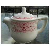 Walker China Teapot with Red Flowers and Scrolls