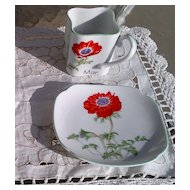 Toko Botanical Art Collection Y. Ohta March Cup & Saucer Red Anemone