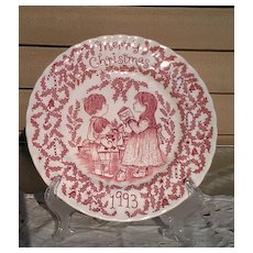 """Royal Crownford 1993 """"A Happy Holiday to You"""" Christmas Plate"""