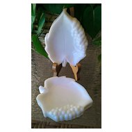 Imperial Milk Glass Grape Leaf Ashtray Set