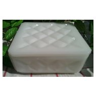 Milk Glass Square Lidded Trinket Box