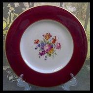 Syracuse Old Ivory Dinner Plate Floral Center, Red Border, Gold Trim