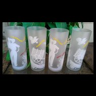 Planters Punch Tom Collins Hurricane Glasses Set of 4