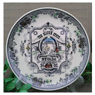 "Nevada ""The Silver State"" Multi-colored Commemorative Plate by Smith Sierra Novelty Company"