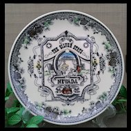 """Nevada """"The Silver State"""" Multi-colored Commemorative Plate by Smith Sierra Novelty Company"""