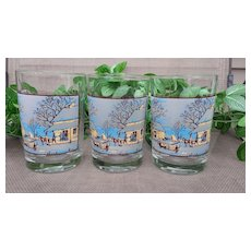 Currier & Ives Early American Winter Christmas Old Fasioned Glass Tumbler