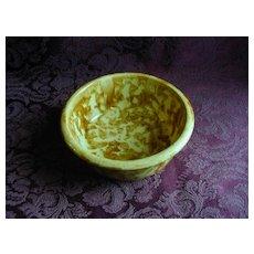 Old Yellow Brown Spongeware Bowl USA 196