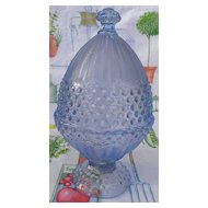 Gorham Crystal Emily's Attic Blue Egg Shape Candy Dish & Lid