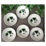 Metlox Pottery California Ivy Fruit/Dessert Six Bowl Set