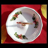 "Pfaltzgraf Christmas Heritage 7"" Handled Candy Dish"