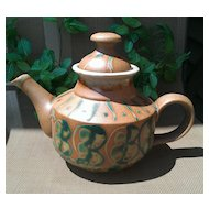 American Art Pottery Terracotta Tea Pot with Green Glaze