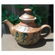 American Art Pottery Terracotta Tea Pot with Green Glaze