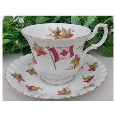 """Royal Albert Footed Cup & Saucer """"Canada - From Sea to Sea"""""""