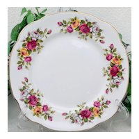 Duchess Rose Floral Square Salad Plate Set Bone China