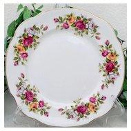 Duchess Rose Floral Square Salad Plate Set Bone China
