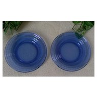 Hazel Atlas Moderntone Cobalt Blue Bread Plate Set of 2