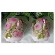 German Pink Rose Demitasse / Chocolate Cup Set